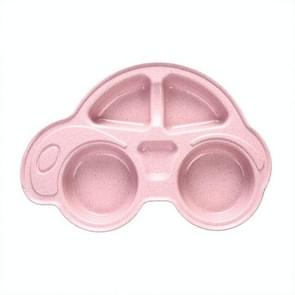 Baby Bowls Plate Tableware Infant Bamboo Feeding Bowl Cute Cartoon Car(Pink)
