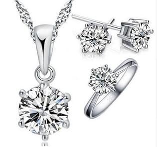 3 in 1 klassieke vrouwelijke Zircon Six-Claw hanger Earring ring sieraden set