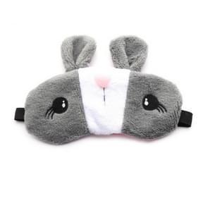 Schattig konijn slapen ontspannen slaap oog maskers Deep Silk gel schaduw ooglapje (grijs)