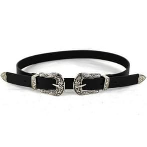 Women Black Leather Western Cowgirl Waist Metal Buckle Waistband New Hot Silver double buckle black bottom