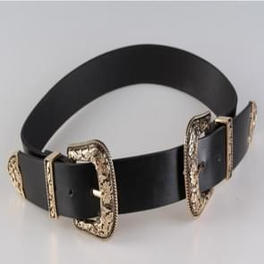 Women Black Leather Western Cowgirl Waist Metal Buckle Waistband New Hot Widened gold double buckle black bottom