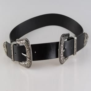 Women Black Leather Western Cowgirl Waist Metal Buckle Waistband New Hot Widened silver double buckle black bottom