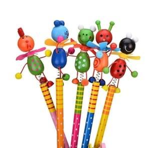 Wooden Animals Pencil Kawaii Students Shakable Head Cute Study Cartoon Personality Kids Pencil Gifts, Random Color