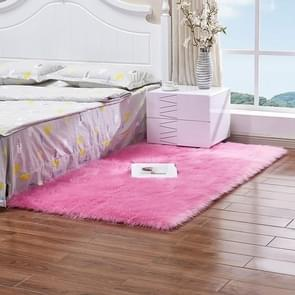 Luxury Rectangle Square Soft Artificial Wool Sheepskin Fluffy Rug Fur Carpet, Size:50x50cm(Rose Red)