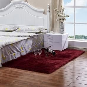 Luxury Rectangle Square Soft Artificial Wool Sheepskin Fluffy Rug Fur Carpet, Size:45x45cm(Wine Red)