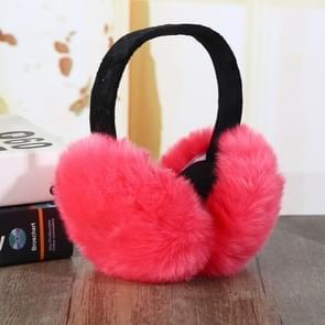 6PCSFaux Rabbit Fur Women Comfortable Warm Ear Cover Ear Adjustable(watermelon red)