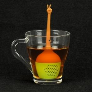 Funny Hand Gestures Tea Infuser Black Tea Strainer FDA Grade Silicone Loose Leaf Herbal Spice Holder Tea Brewing Tools (Victory Gesture)