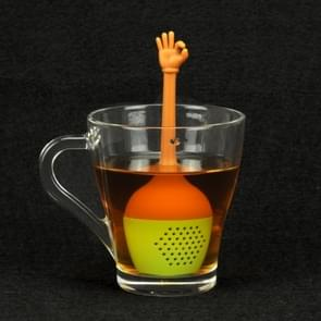 Funny Hand Gestures Tea Infuser Black Tea Strainer FDA Grade Silicone Loose Leaf Herbal Spice Holder Tea Brewing Tools (OK Gesture)