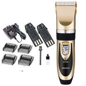 Wireless Electrical Hair Trimmer Rechargeable Mute Hair Clipper Hair Cutting Machine Set Trimmer Tool with 4 Combs Gold with US Plug