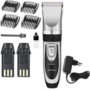 Wireless Electrical Hair Trimmer Rechargeable Mute Hair Clipper Hair Cutting Machine Set Trimmer Tool with 4 Combs Silver with EU Plug