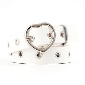 3PCS Narrow Thin Leather Silver Metal Heart Buckle Belts for Women, Belt Length:105cm(WHITE)