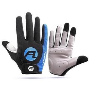 Fietshandschoenen full finger fietshandschoenen anti slip gel pad motorhandschoen  maat:m(blauw)