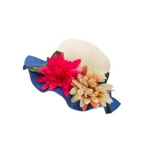 Sun Hats Summer Hats Flower Large Eaves Straw Beach Cap Straw Hat(Blue)