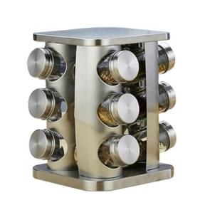 12 in 1 Stainless Steel Canister Set with Turnable Holder(Silver)