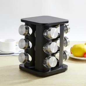 12 in 1 Stainless Steel Canister Set with Turnable Holder(Black)