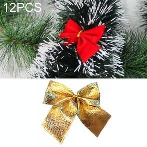 12 PCS Flocked Bow Christmas Tree Decoration(gold)