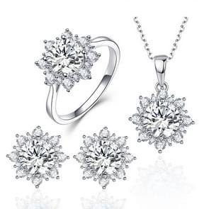 3 STKS/set sneeuw vorm edelsteen sieraden set voor vrouwen  ring maat: 7 (wit)