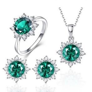 3 STKS/set sneeuw vorm edelsteen sieraden set voor vrouwen  ring maat: 9 (groen)