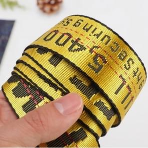 2PCSMen Embroidery Letter Woven Waistbands Modern Long Pant Accessories, Belt Length:110cm(yellow)