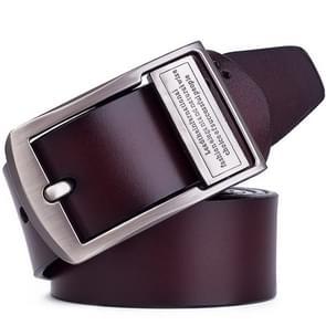 Men's Pin Buckle Leather Belt Pure Leather Pants Belt, Belt Length:110cm( brown)