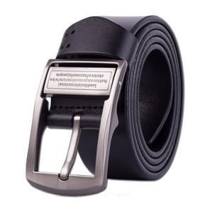 Men's Pin Buckle Leather Belt Pure Leather Pants Belt, Belt Length:115cm(black)