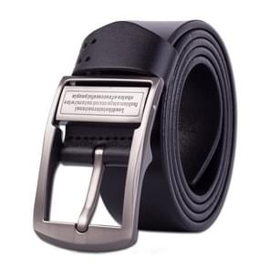 Men's Pin Buckle Leather Belt Pure Leather Pants Belt, Belt Length:120cm(black)