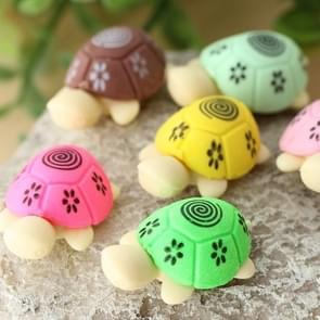 12 stuks leuke cartoon schildpad vorm potlood gum instellen student briefpapier Gift (willekeurige kleur levering)