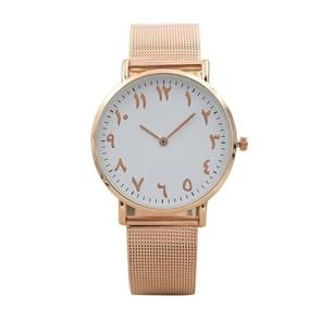 Arabic Digital Stainless Steel Mesh Strap Watch for Men / Women(Rose Gold)