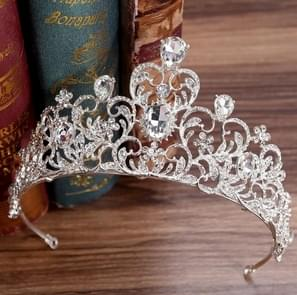 Crystal Wedding Crown Bride Crown Headband Accessories Hair Jewelry Ornaments(Silver White)