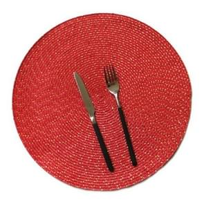 2 PCS PP Round Oval Woven Placemat, Size:Diameter 36cm(Red)