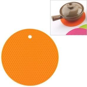 Honeycomb Silicone Round Non-slip Heat Resistant Mat, Size: 18x18x0.8cm(Orange)