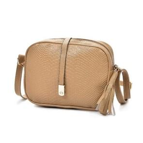 Women Messenger Bags Small ShoulderBag Female Tassel Handbag Purse Fashion Artificial Leather Crossbody Bag for Ladies(Khaki)