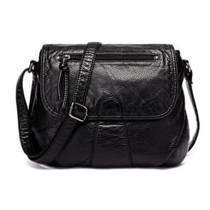 Women Messenger Bags Soft Washed PU Leather Bag Fashion Female Purses and Handbag 25cmX3cmX22cm(Black)