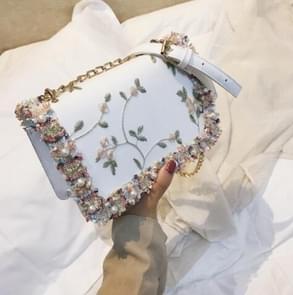 Lace Flowers Women Bag Handbag PU Leather Sweet Girl Square Bag Flower Pearl Chain Shoulder Messenger Bag(White)