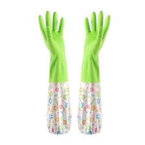 2 Pairs Long Silicone Rubber Gloves Waterproof Scrub Kitchen Dish Beam Mouth Washing Gloves(Light Green)