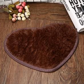 Heart Shape Non-slip Bath Mats Kitchen Carpet Home Decoration, Size:30*40CM(Coffee)