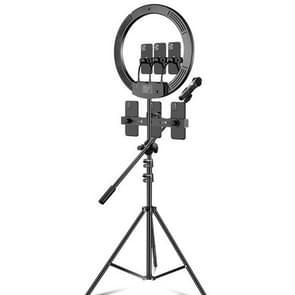 18 inch + 6 Telefoon Clips + Microfoon Pole Dimmable Kleur temperatuur LED-ring vullicht live uitzending set met 2 1 m Statief mount  CN Plug