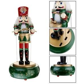Retro Wooden Nutcracker Drummer Music Box for Gift Vintage Home Decoration(Green )