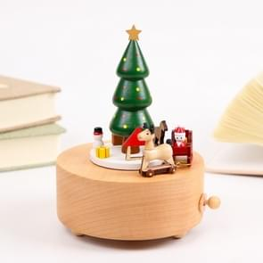Wooden Carousel Music Box for Christmas Birthday Gift Home Decorations(Christmas Tree)
