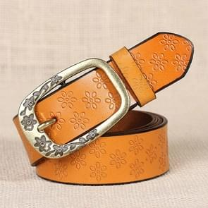 Ladies Plum Blossom Pattern Metal Buckle PU Leather Belt(Yellow brown)