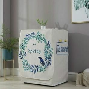 Cartoon Cotton and Linen Drum Roller Washing Machine Dust Cover, Size:83x60x60cm(Blue Flower)