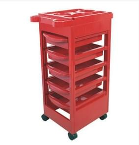 Five-floors Adjustable Height Hair Salon Instrument Storage Cart Beauty Trolley(Red)