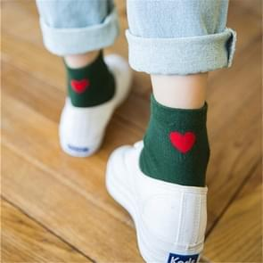 5 Pairs Embroidered heart shape cotton lady cotton socks stack socks(Green)