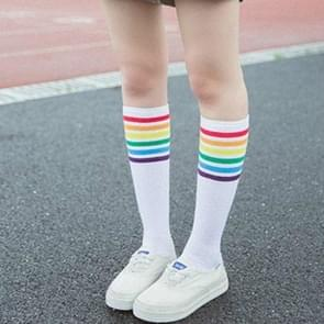 Women Leg Sock Autumn Winter Tube Socks Rainbow Stripe Sport Socks(White)