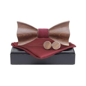 3 in 1 Men 3D Emboss Wood Bow-knot + Pocket Square Towel + 2 Cufflinks Set(M161-A6)