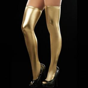 Sexy Women Over Knee Thigh High Tights Stockings Long PU Leather Stockings(Yellow)