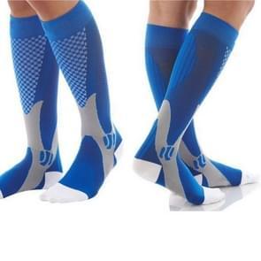 3 paar compressie sokken outdoor sport mannen vrouwen kalf Shin been running  grootte: XXL (blauw)