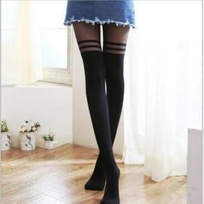 Sexy vrouwelijke Longtube kousen panty kous dun chiffon (zwart)