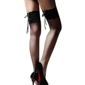 Womens Sexy Stockings  Lace Up Transparent Fishnet Stockings Highs Hosiery Nets Erotic Lace Knee Socks(Black)