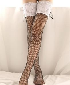 Womens Sexy Stockings  Lace Up Transparent Fishnet Stockings Highs Hosiery Nets Erotic Lace Knee Socks(White)